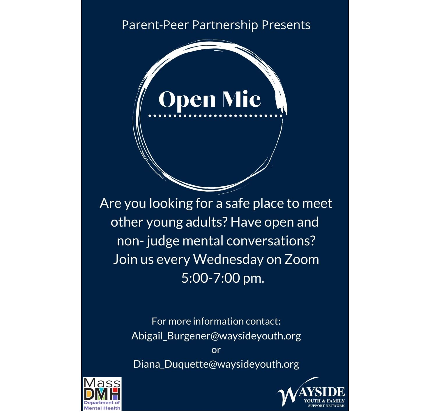 Open Mic: Virtual Young Adult Event - Hosted by Wayside Youth & Family Support Network