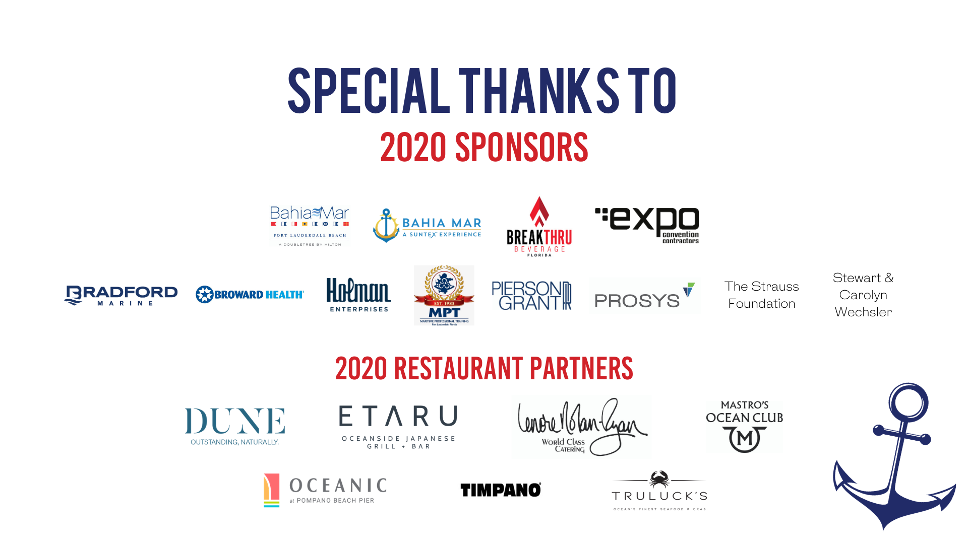 Thank you to our 2020 Soirée Sponsors