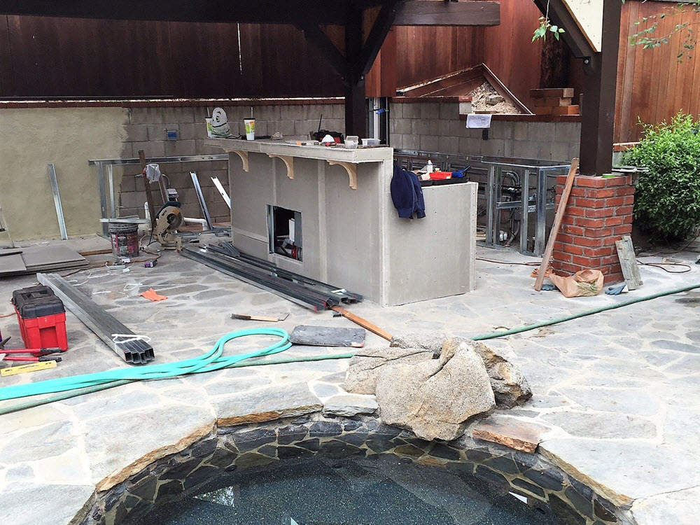 Ed's Landscaping Natural Stone Spa Installation