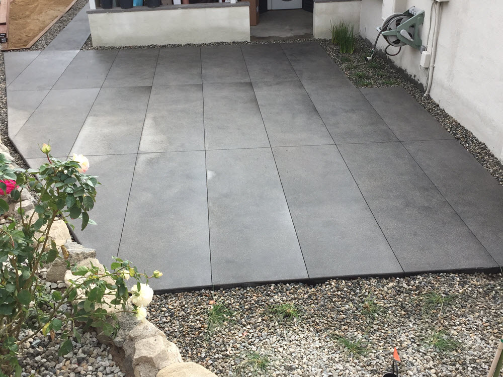 Ed's Landscaping Backyard Patio dyed cement slabs