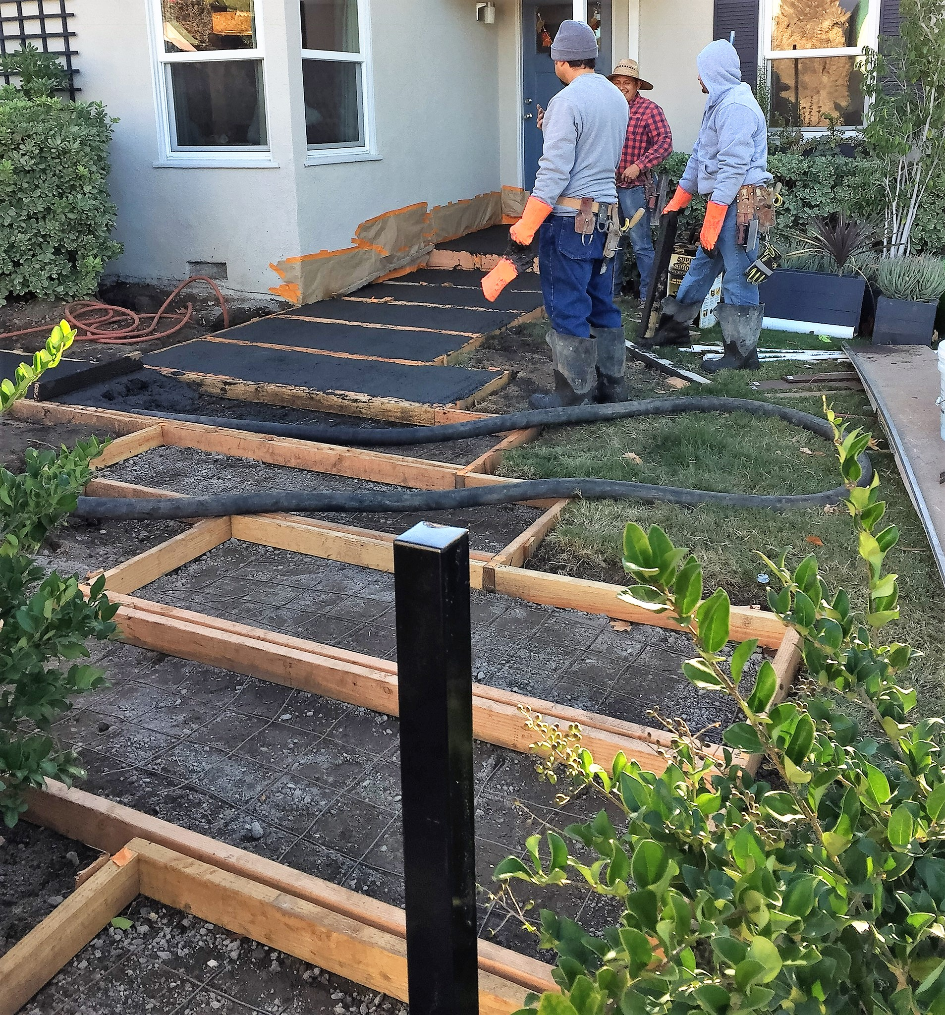 Ed's Landscaping cement walkway forms