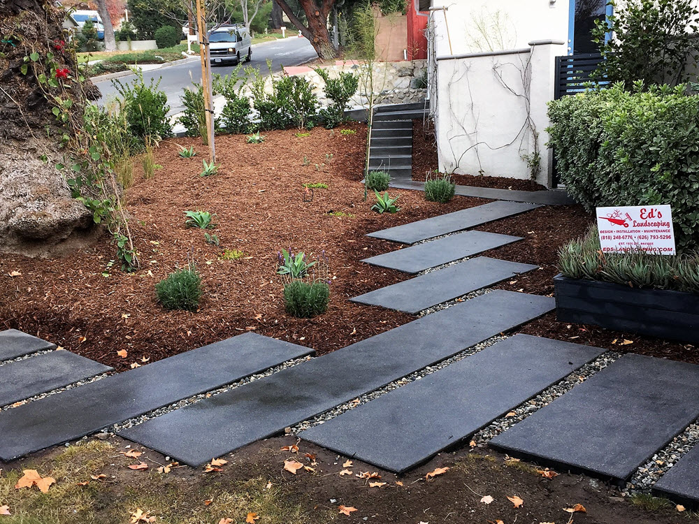 Ed's Landscaping Black Cement Slab project completed
