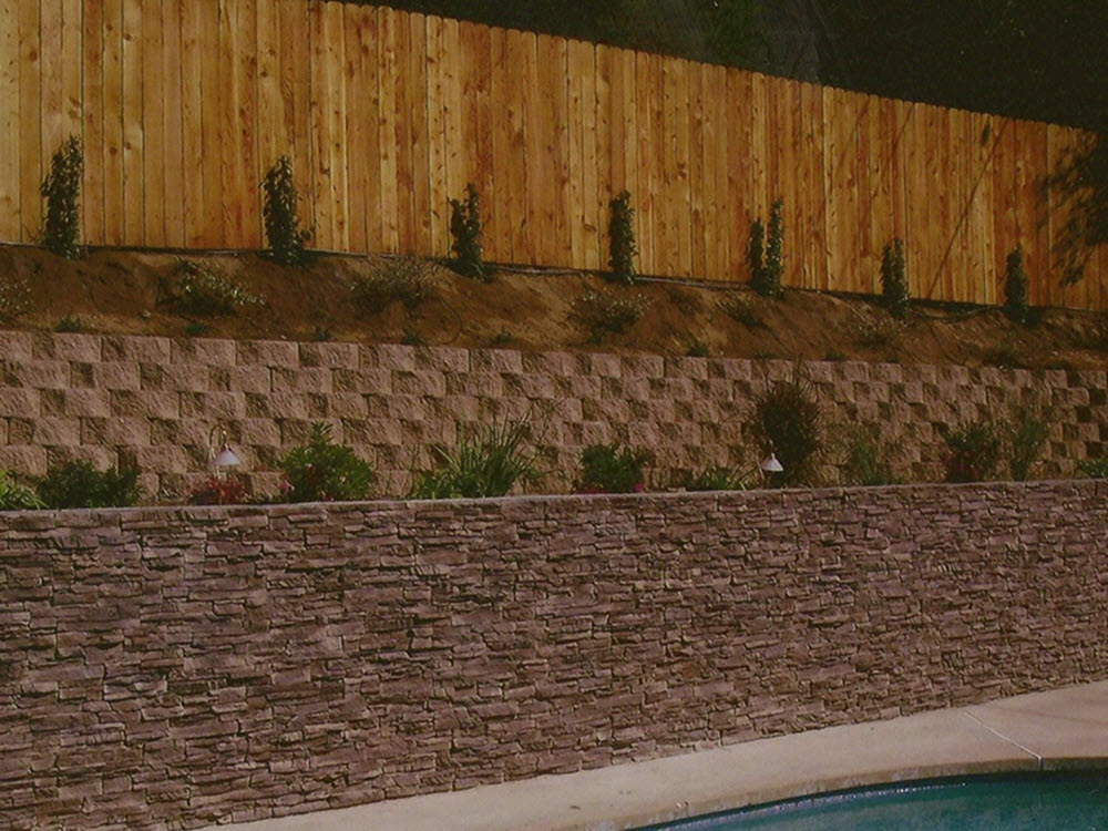 Ed's Landscaping Mixed materials Wall cultured stone, block and wood fence