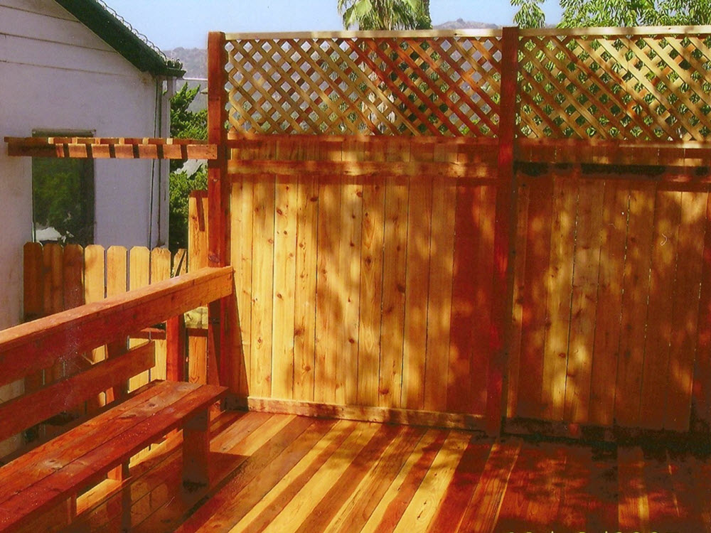 Wood Fence with bench