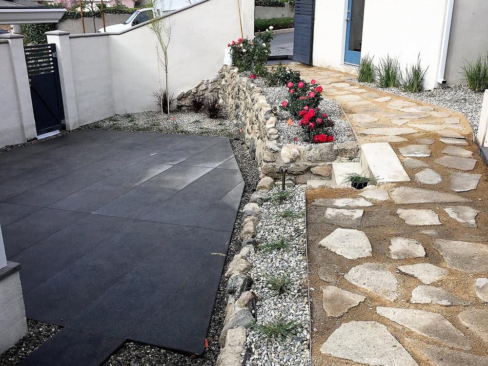 New York St. La Crescenta Backyard Naturals Stone and Cement Patio and walkway