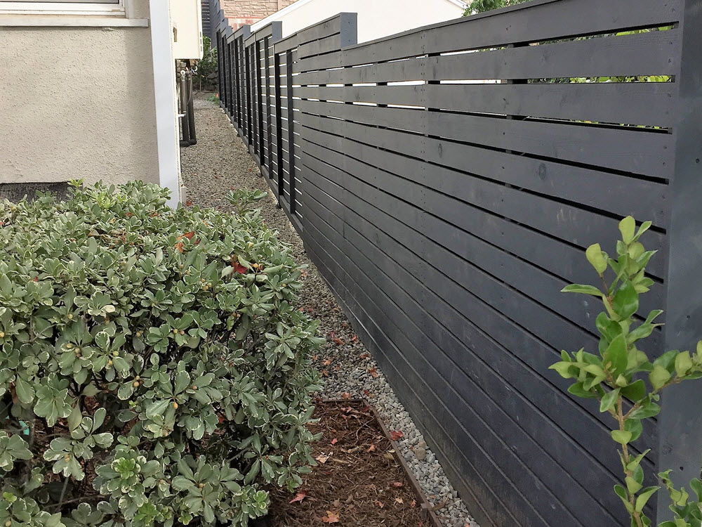 Ed's Landscaping Horizontal Fence Gray fence