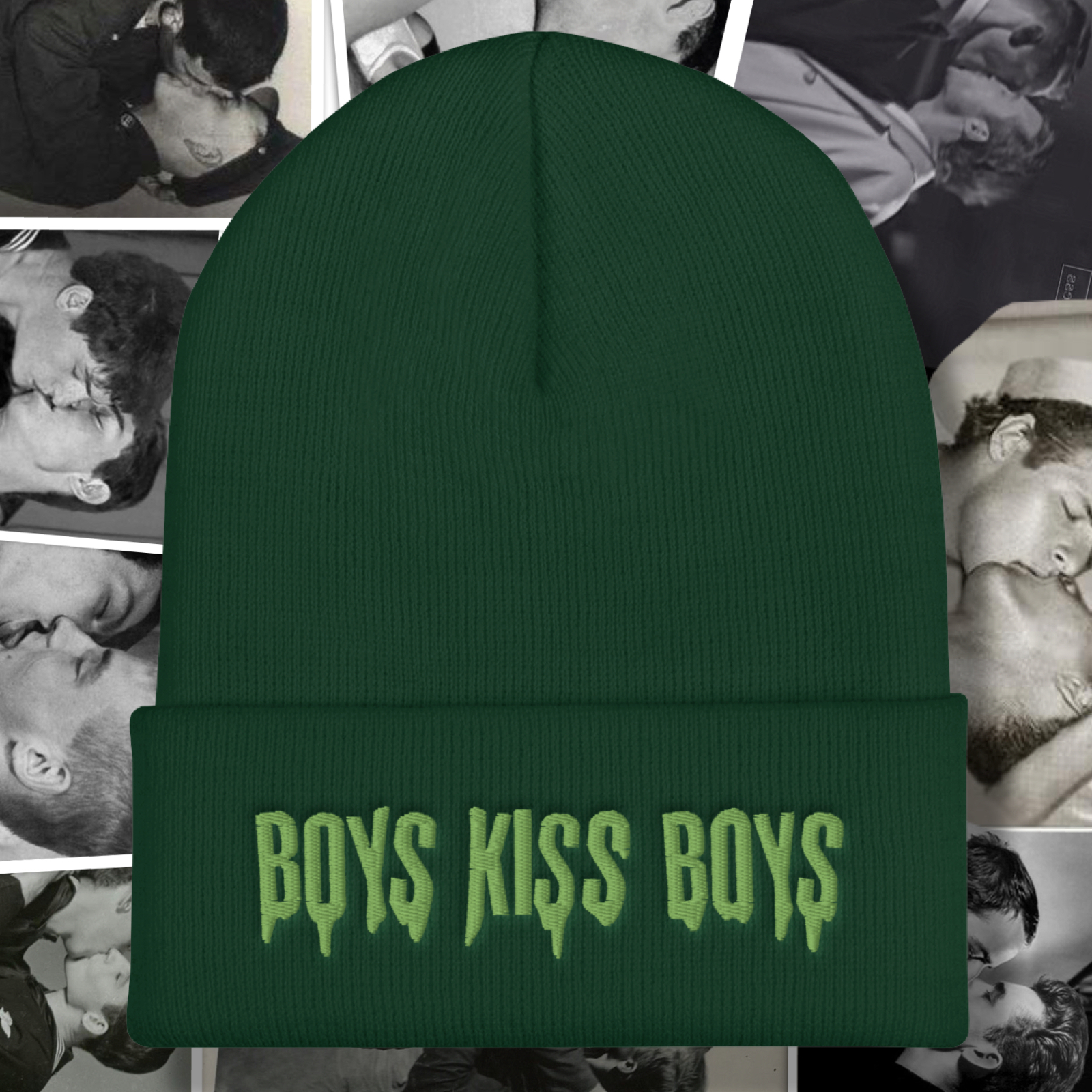 """Featured image for """"Boys Kiss Boys - Zombie Green - Cuffed Beanie"""""""