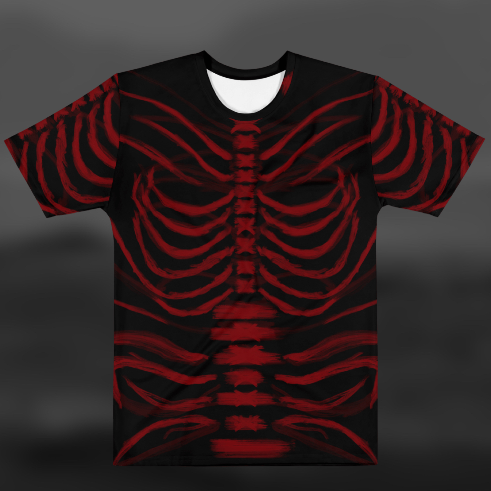"""Featured image for """"Grungy Ribcage - Red Black - T-shirt"""""""