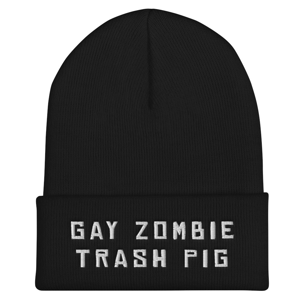 """Featured image for """"Gay Zombie Trash Pig - Cuffed Beanie"""""""