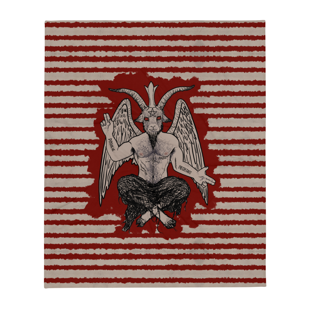 """Featured image for """"Blood Stripe Baphomet - Throw Blanket"""""""