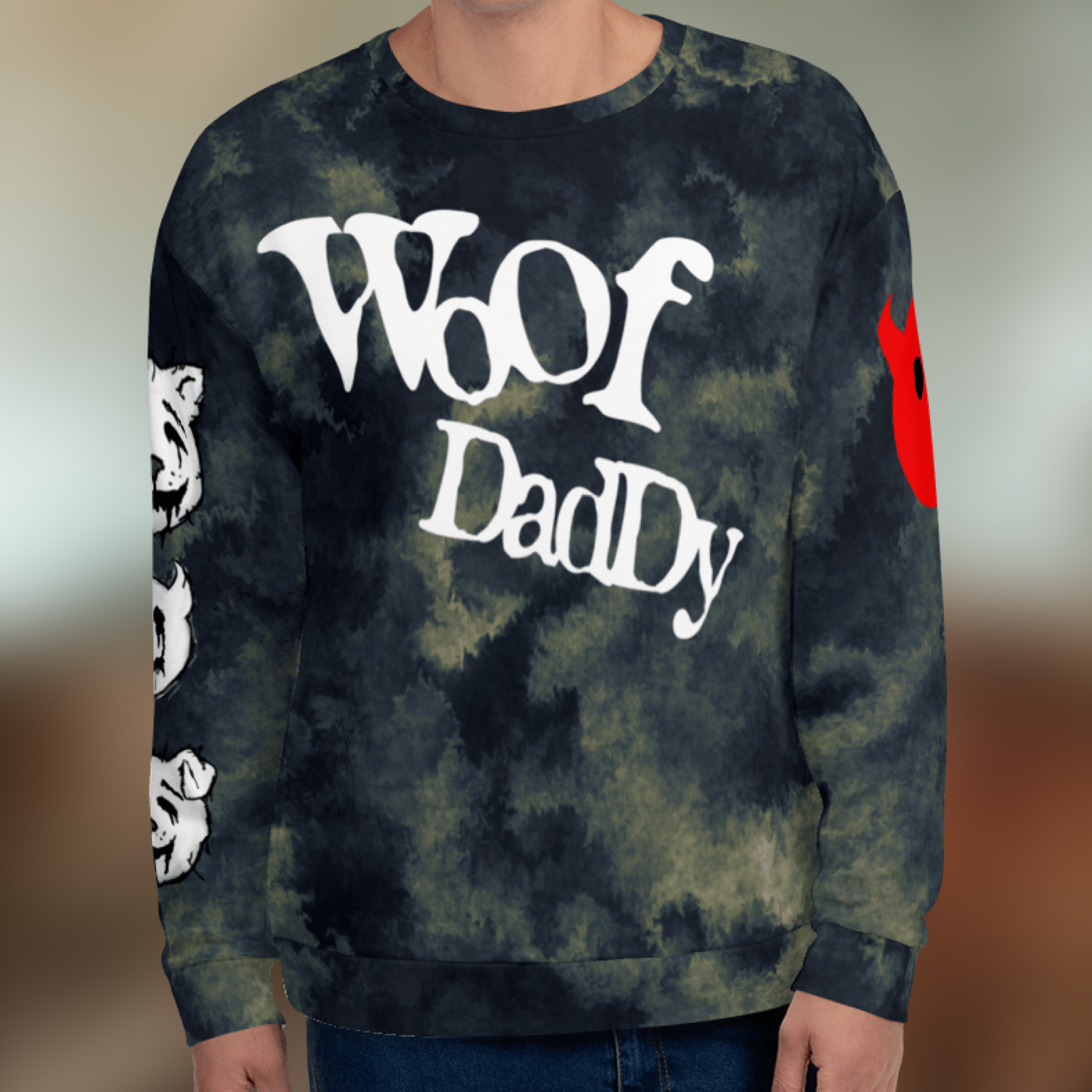 """Featured image for """"Woof Daddy Furry - All Over - Unisex Sweatshirt"""""""