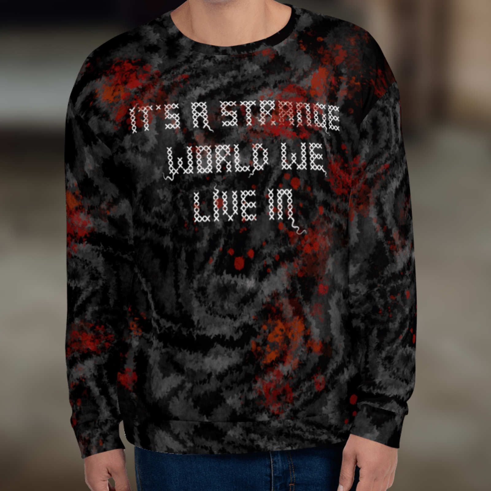 """Featured image for """"It's a Strange World - All Over - Unisex Sweatshirt"""""""