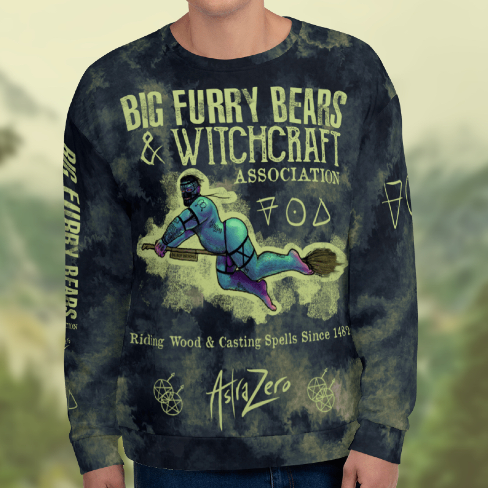 """Featured image for """"Big Furry Bears & Witchcraft - All Over - Unisex Sweatshirt"""""""