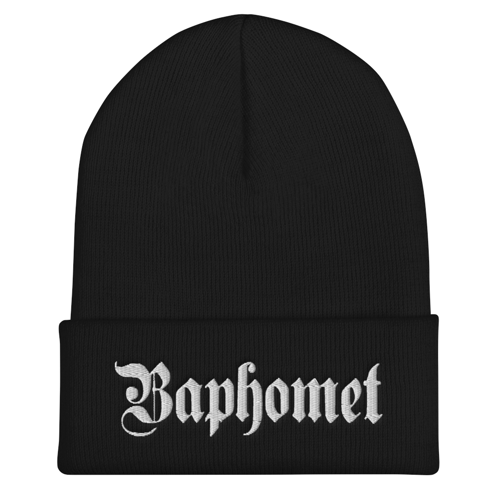 """Featured image for """"Baphomet Gothic - Cuffed Beanie"""""""