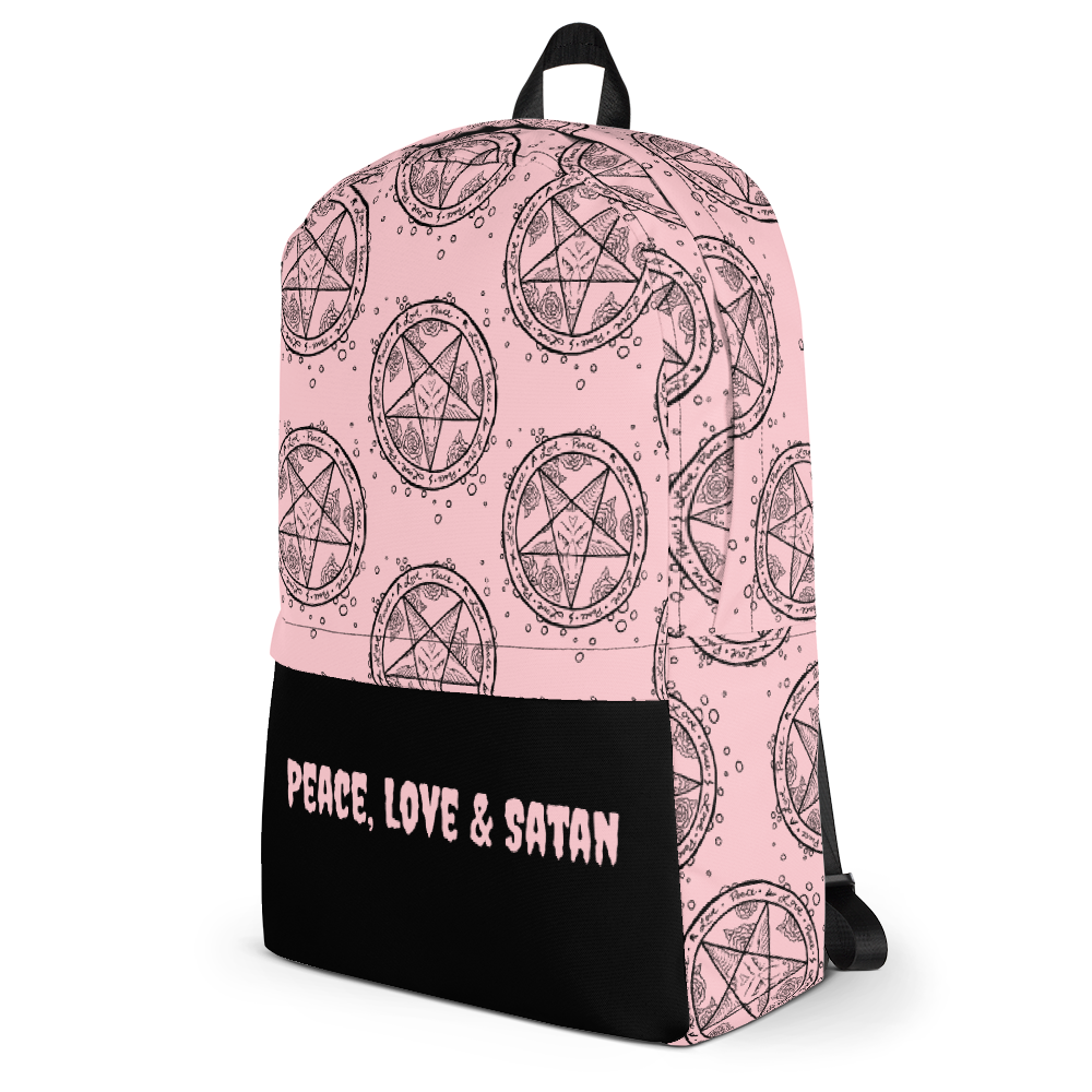 """Featured image for """"Peace Love & Satan ( Pink ) Backpack"""""""