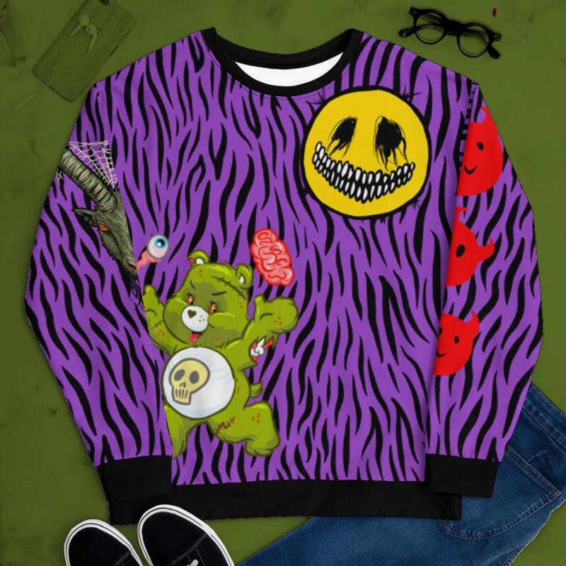 "Featured image for ""Too Much ( Purple Zebra ) Unisex Sweatshirt"""