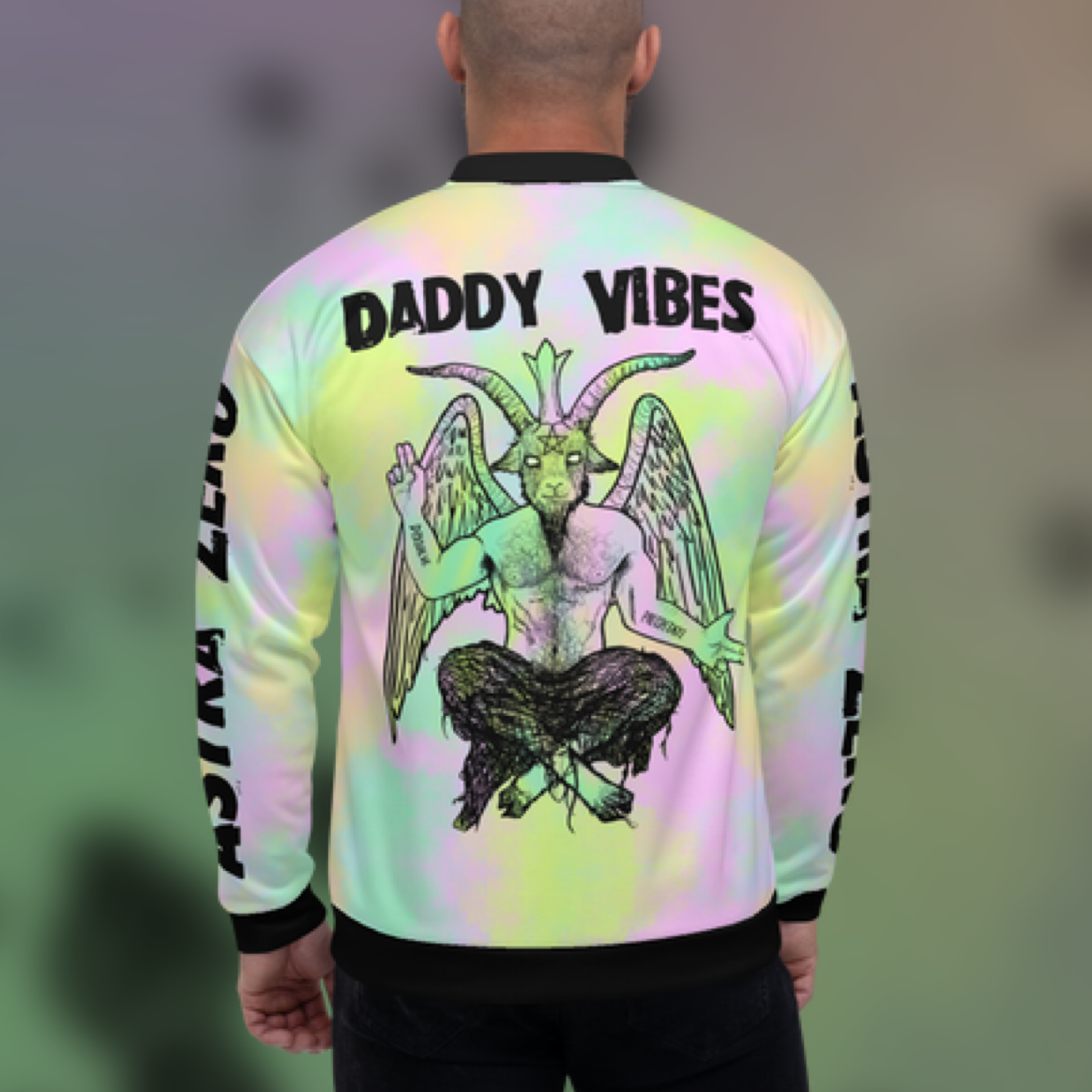 """Featured image for """"Daddy Vibes Baphomet Pastel - Unisex Bomber Jacket"""""""