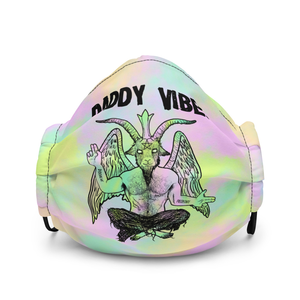 """Featured image for """"Daddy Vibes Baphomet ( Pastel ) Premium face mask"""""""