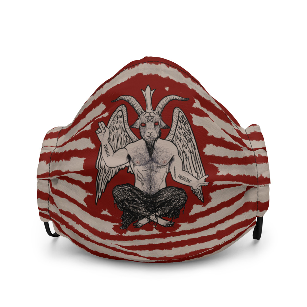 """Featured image for """"Blood Stained Baphomet - Premium face mask"""""""