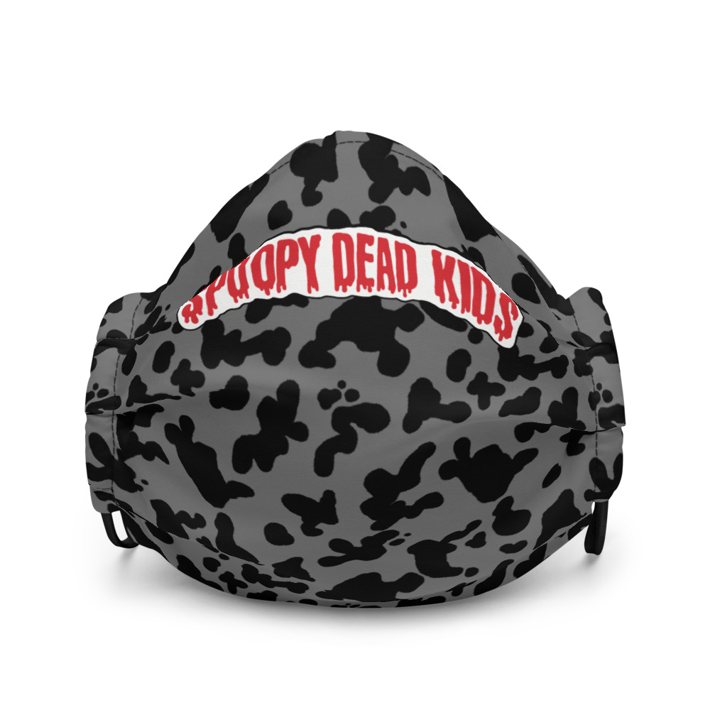 """Featured image for """"Spoopy Dead Kids ( Grey Cow Print ) Premium face mask"""""""