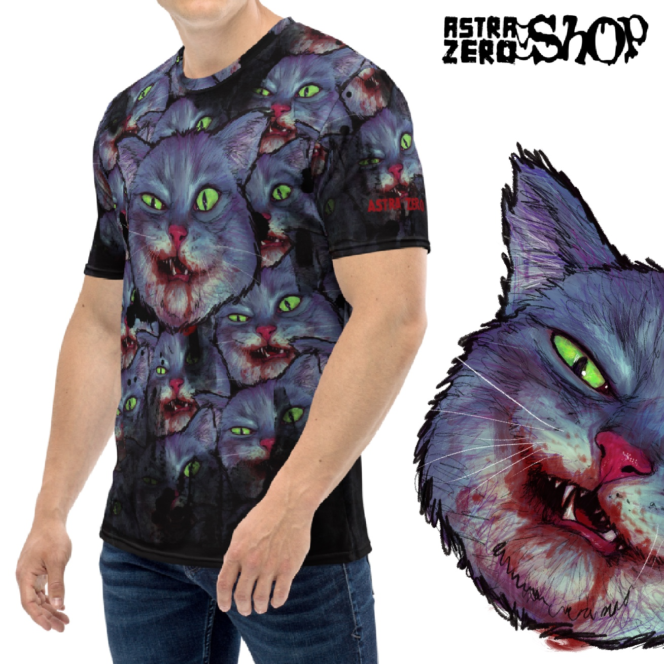 """Featured image for """"Evil Cat - All Over Men's T-shirt"""""""