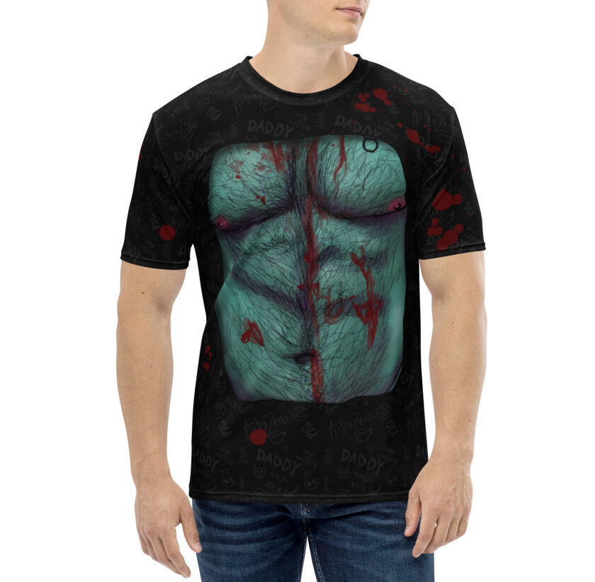 """Featured image for """"Zombie Daddy Chest - Black - Men's T-shirt"""""""