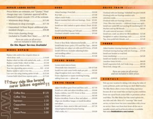 menu of pricing for bike bistro ft myers