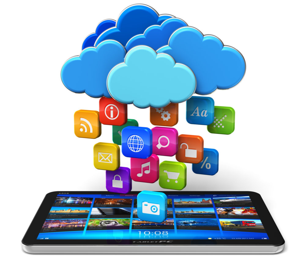 Cloud computing and mobility concept: tablet PC and blue glossy clouds with lot of color application icons isolated on white background