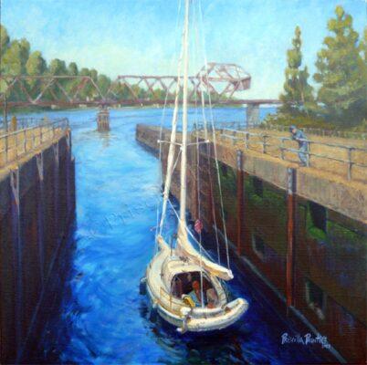 painting of a boat sailing through Ballard Locks by fine Artist Priscilla Prentice