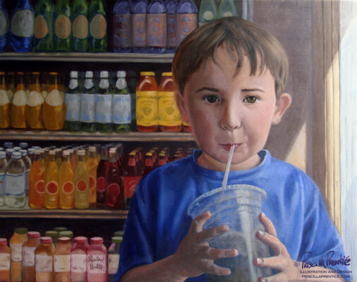 Painting of young boy sipping shake in front of a cooler full of brightly colored sodas by Fine Artist Priscilla Prentice
