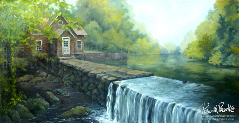 Fine Art Painting of a Grist Mill on a humid day by artist Priscilla Prentice