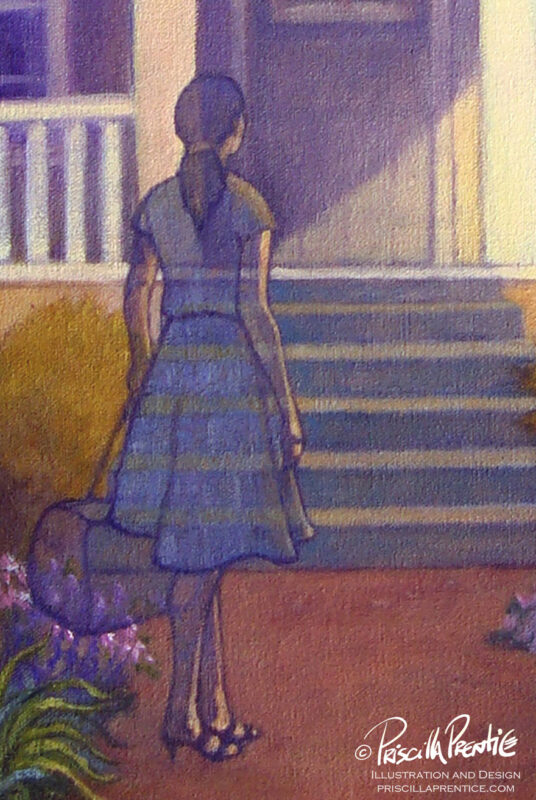 Detail of happy house painting showing woman at the doorstep with a suitcase. The woman in transparent. Painting by Priscilla Prentice