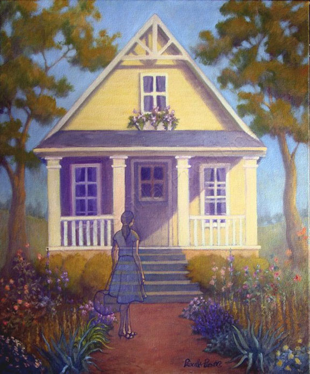 Painting of woman in front of house on a sunny day by Fine Artist Priscilla Prentice