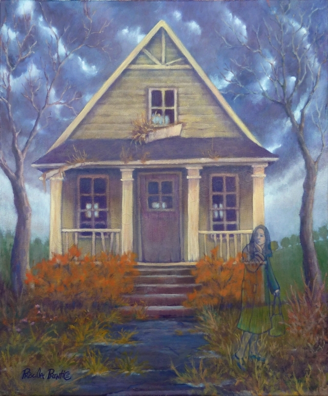 Sad gloomy looking house with a concerned woman who is transparent walking away - painting by fine artist Priscilla Prentice