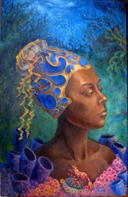 Fine Art Painting of a woman underwater with a fancy hat surrounded by coral by Priscilla Prentice