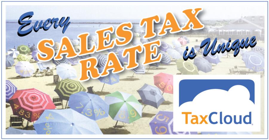 sales tax rates and beach umbrella scene