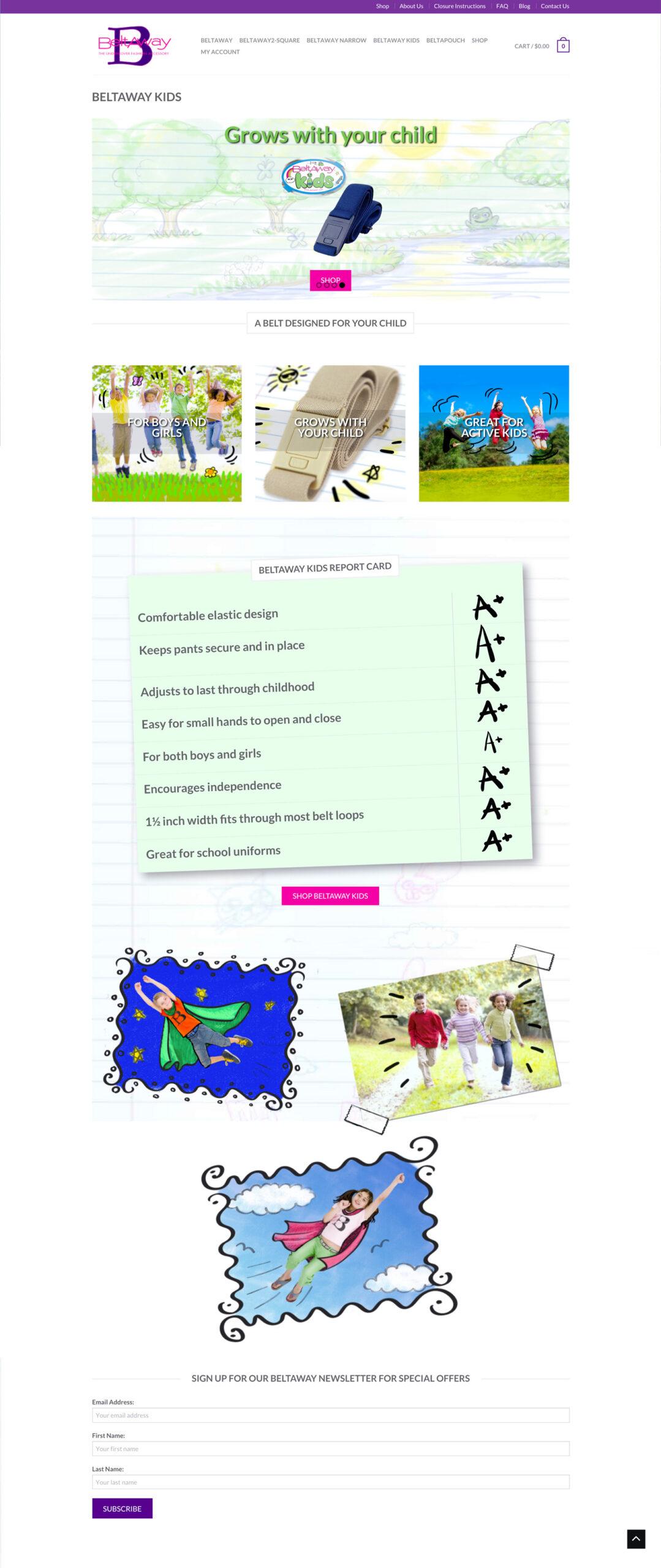 Beltaway kids web site screen shots