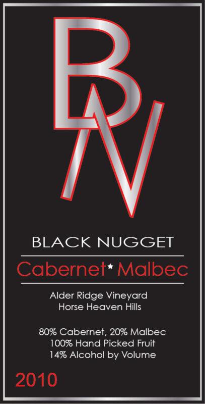 BlackNugget wine label logo graphic design by Priscilla Prentice