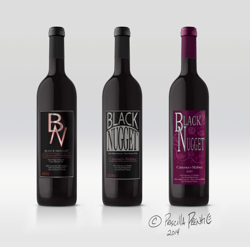 Black Nugget wine label on three bottles by Graphic Designer Priscilla Prentice