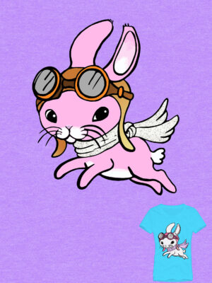 Bunny with wings and helmet tshirt design by Priscilla Prentice