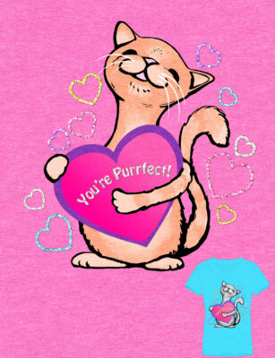 "Cat holding heart that reads, ""You're Purrfect!"" tshirt design by Priscilla Prnetice"