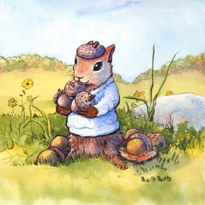 chipmunk in sweater gathering acorns - illustration by Priscilla Prentice