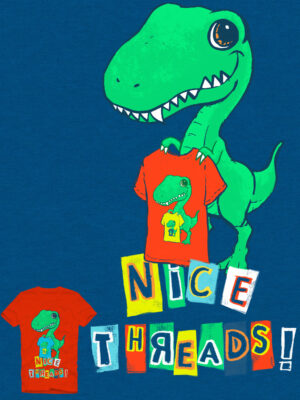 "Dinosaur holding shirt that reads ""Nice Threads!"" by illustrator Priscilla Prentice"
