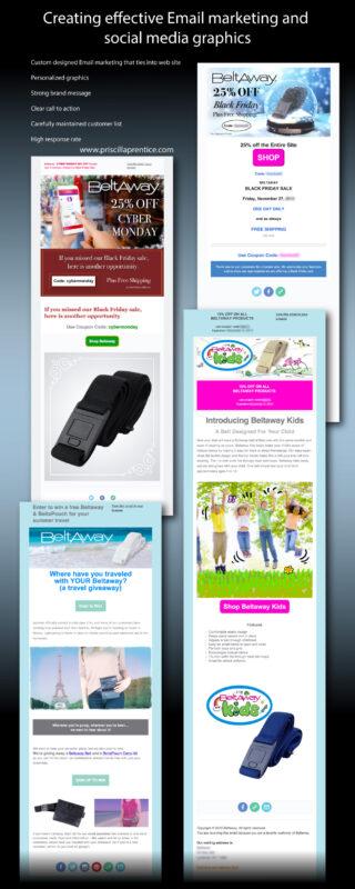 marketing screenshots for Beltaway email marketing by designer Priscilla Prentice