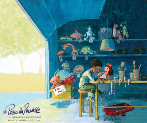 Franklin fixes toys in his garage toy shop - illustration bu Priscilla Prentice