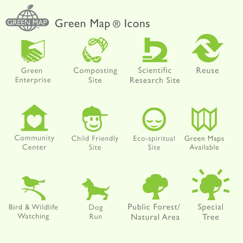 Samples of greenmap icons by Designer Priscilla Prentice