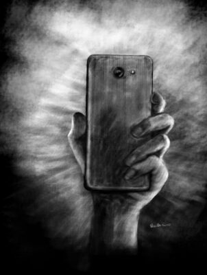 hand holding smart phone illustration by Priscilla Prentice