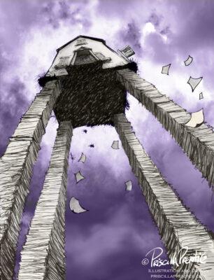 house on paperwork stilts - illustration by Priscilla Prentice