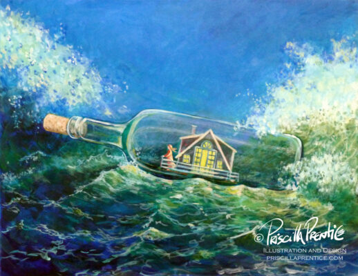 painting of a house in a bottle by illustrator Priscilla Prentice