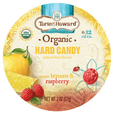tin of lemon candies for Torie and Howard Candy - illustration by Priscilla Prentice